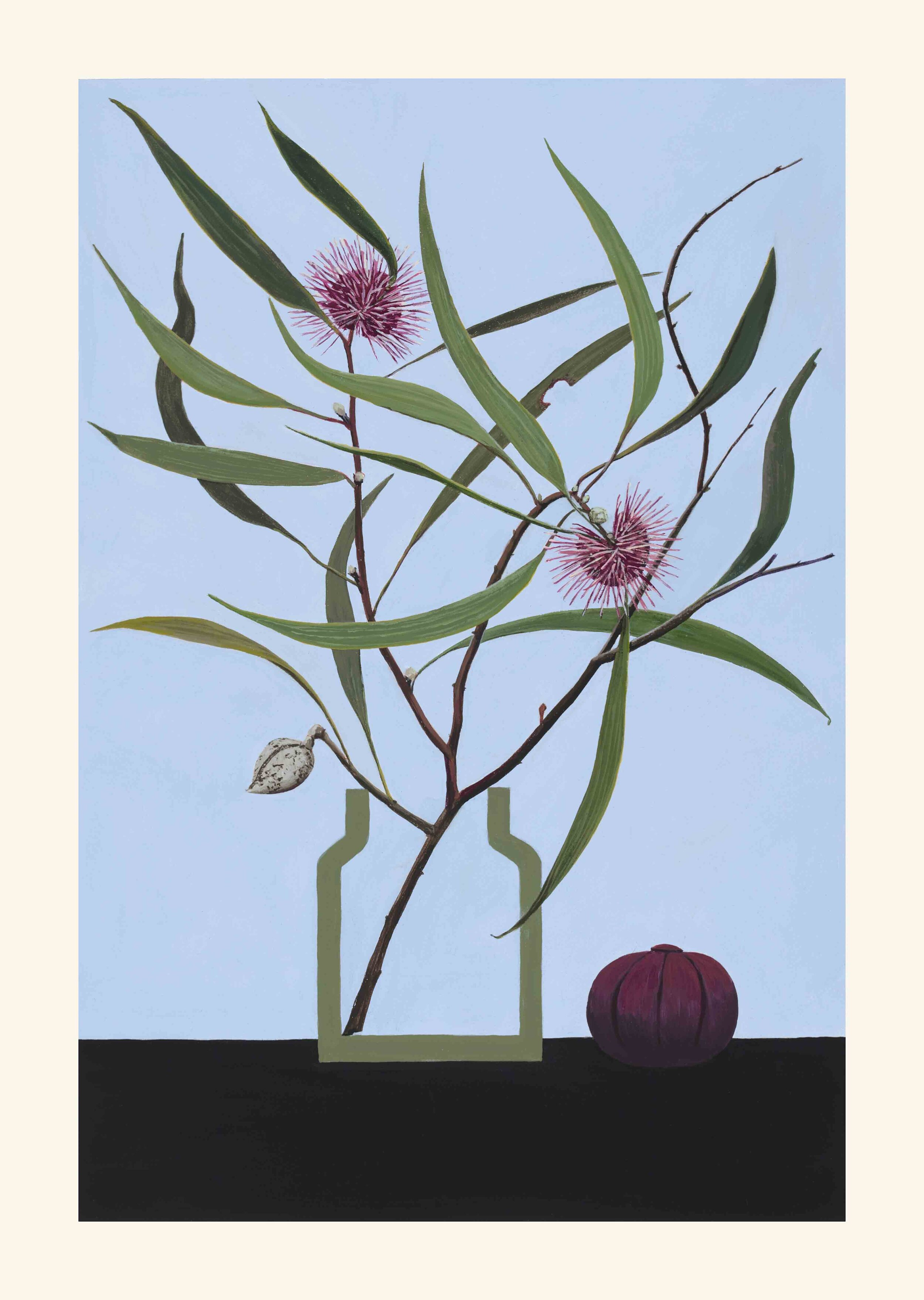 44. Joss Gregson, Still Life-Hakea laurina, 2019, acrylic over gesso on paper, 42 x 30 cm $825