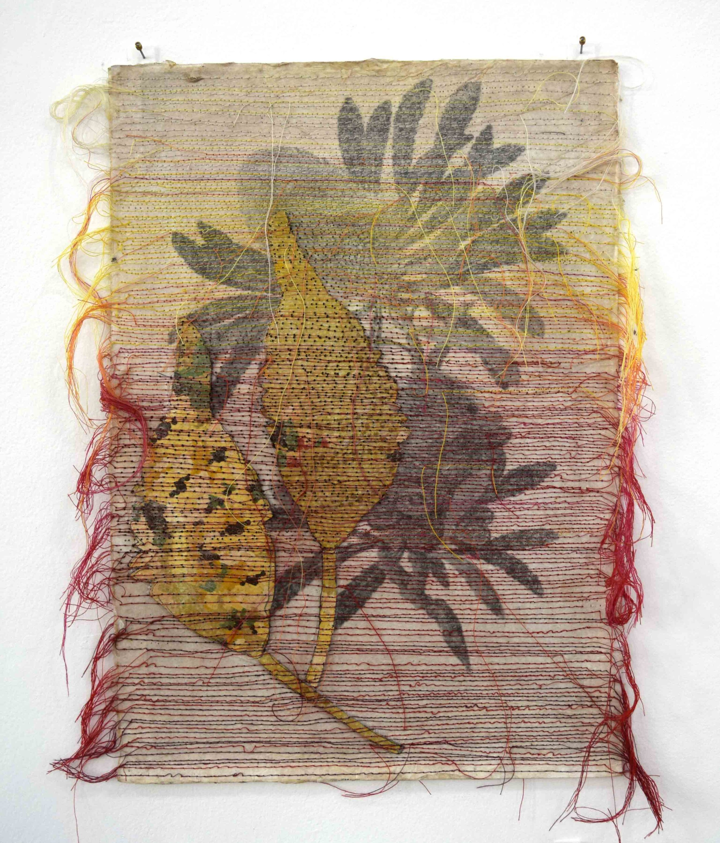 52. Helen Seiver, Introducing the Wild West to Sydney II, 2019, lino, ink and cotton thread, 42 x 29.5 cm $400