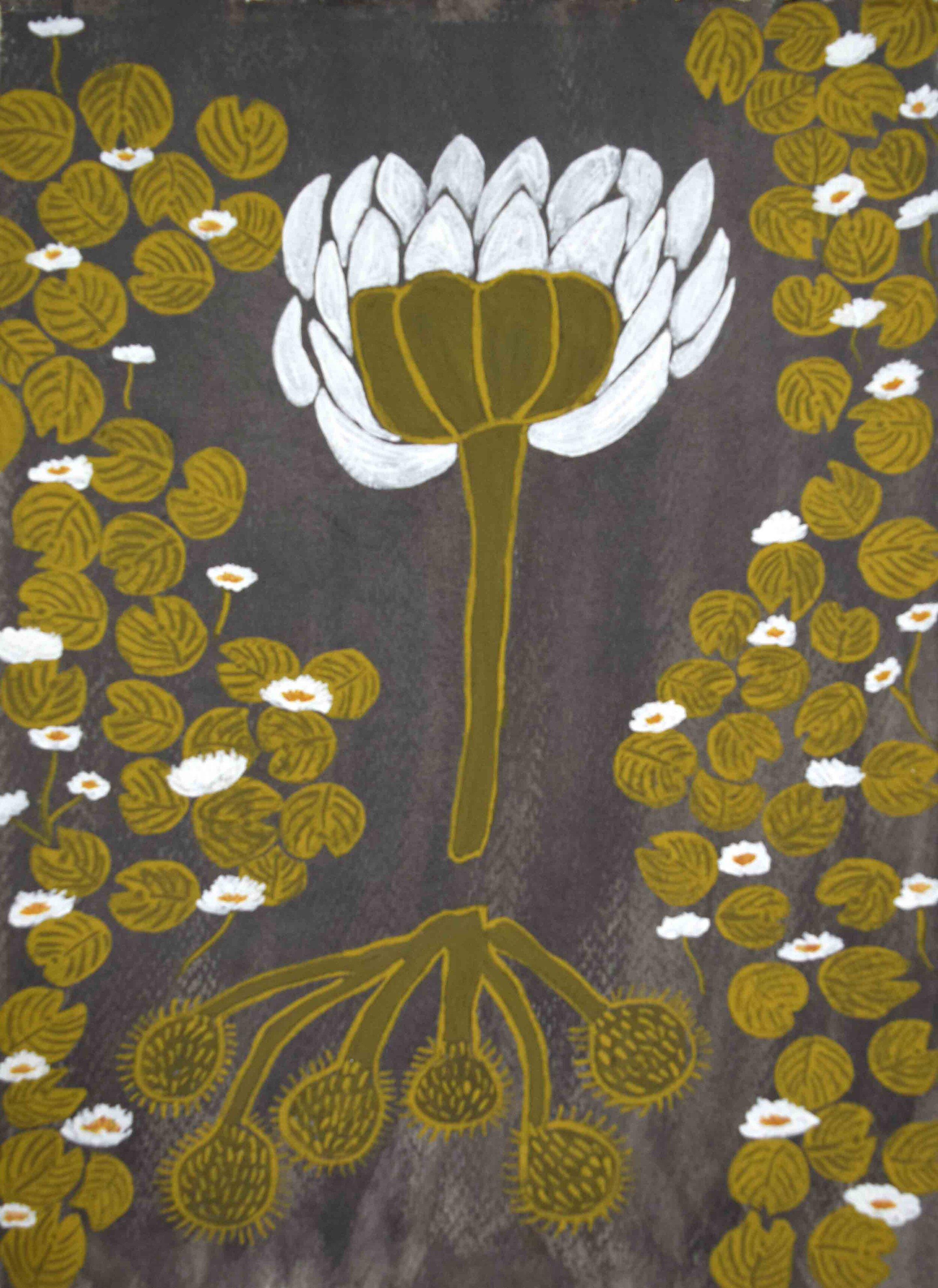 63. Jan Griffiths, Garnngooning, 2019, natural pigment on paper, 42 x 30 cm $350