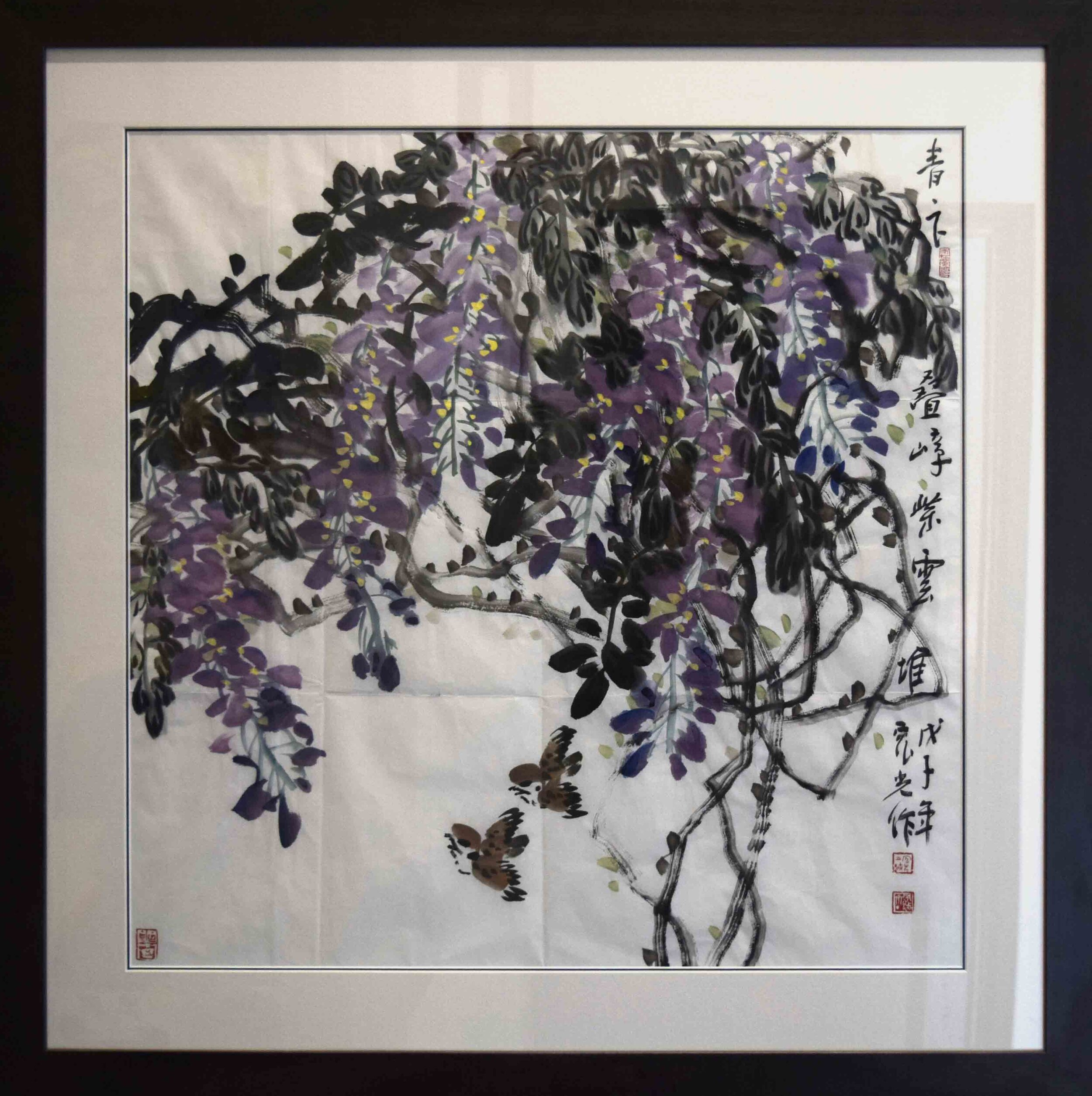 Chen Hongguang, Wisteria with Birds, 2012, ink wash on rice paper, 665 x 665 mm.
