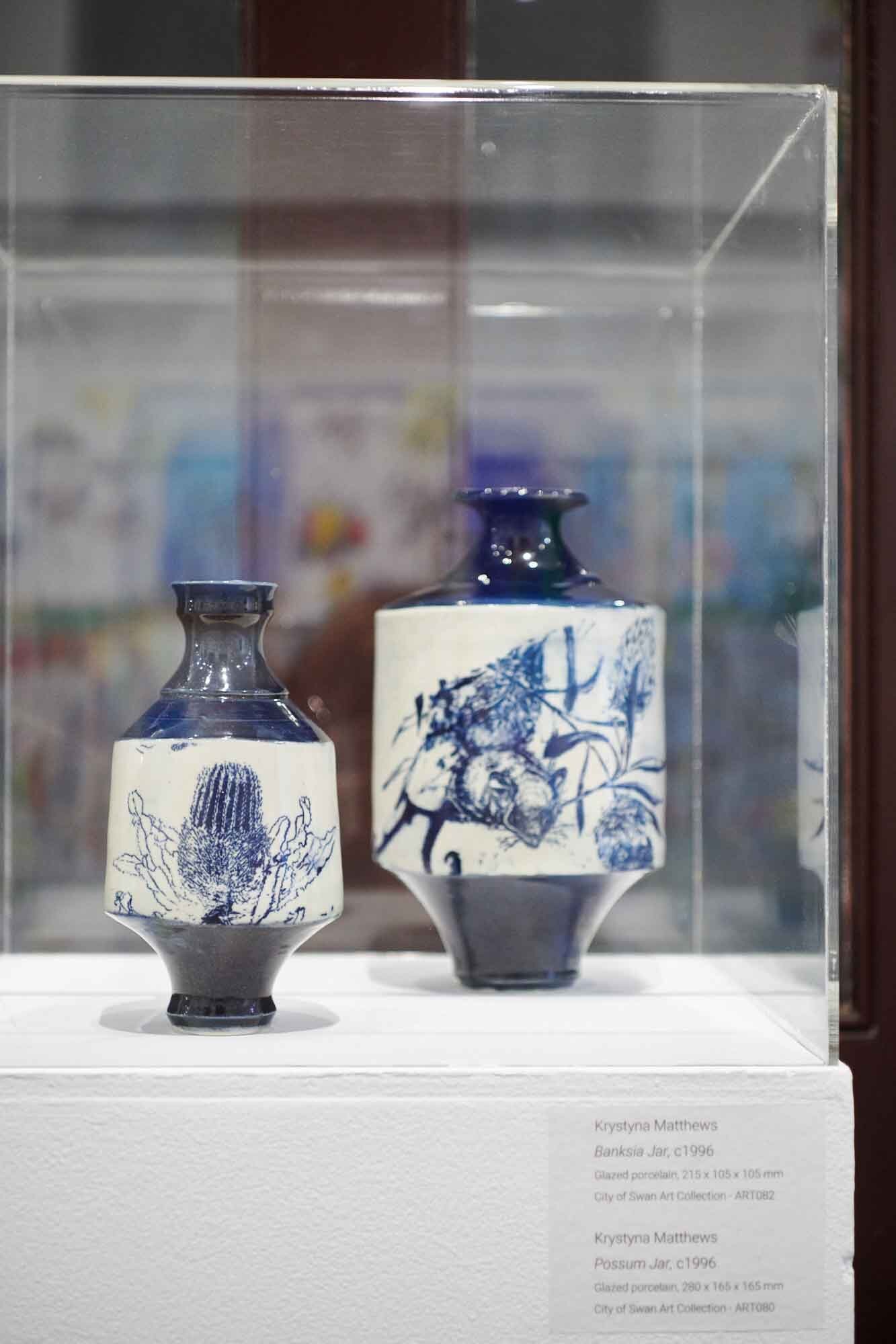 Krystyna Matthews, Banksia Jar and Possum Jar, 1996, glazed porcelain. Image by Rebecca Mansell.