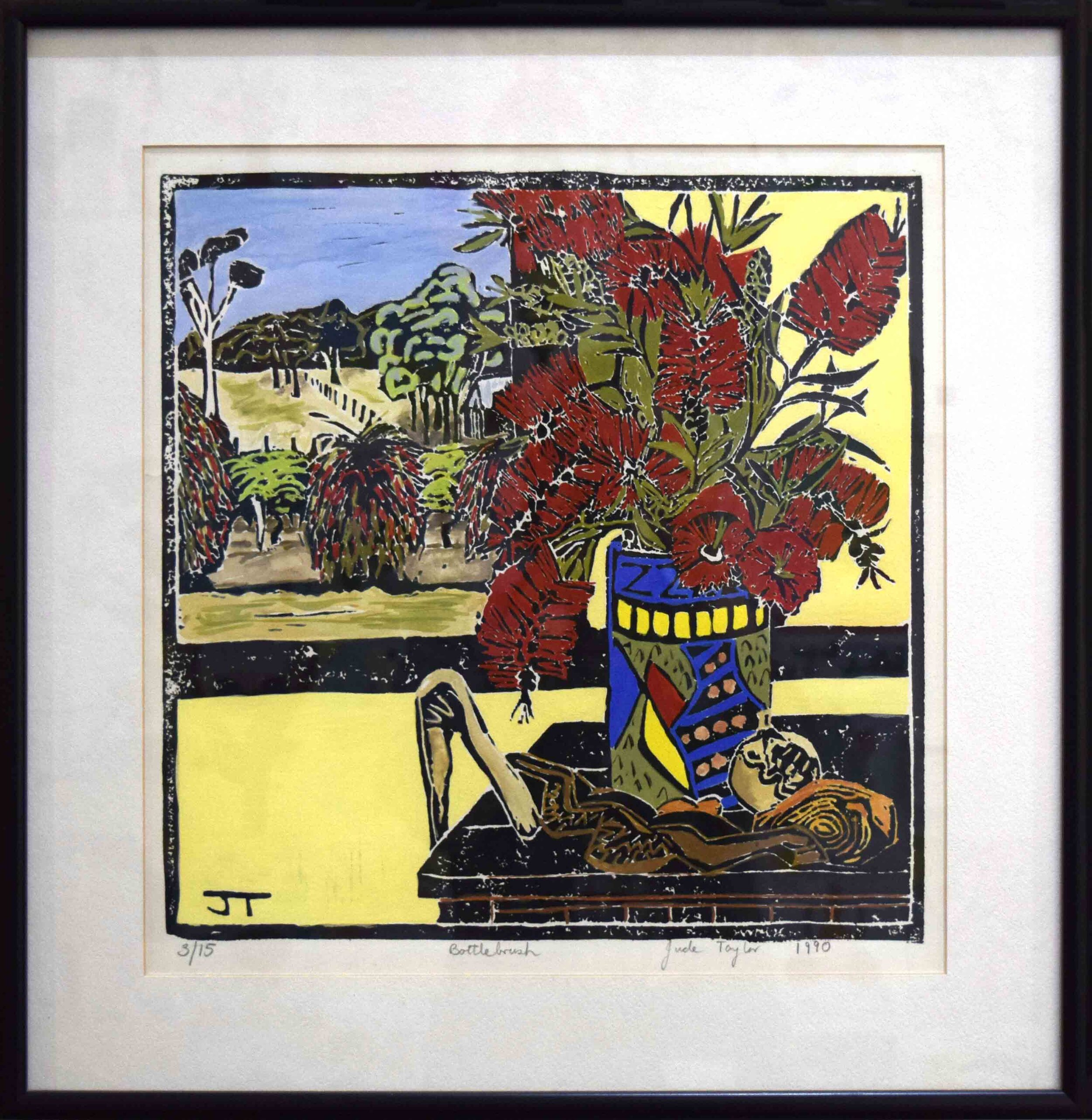 Jude Taylor, Bottlebrush, 1991, hand coloured linocut print on paper, edition 3 or 15, 335 x 340 mm.