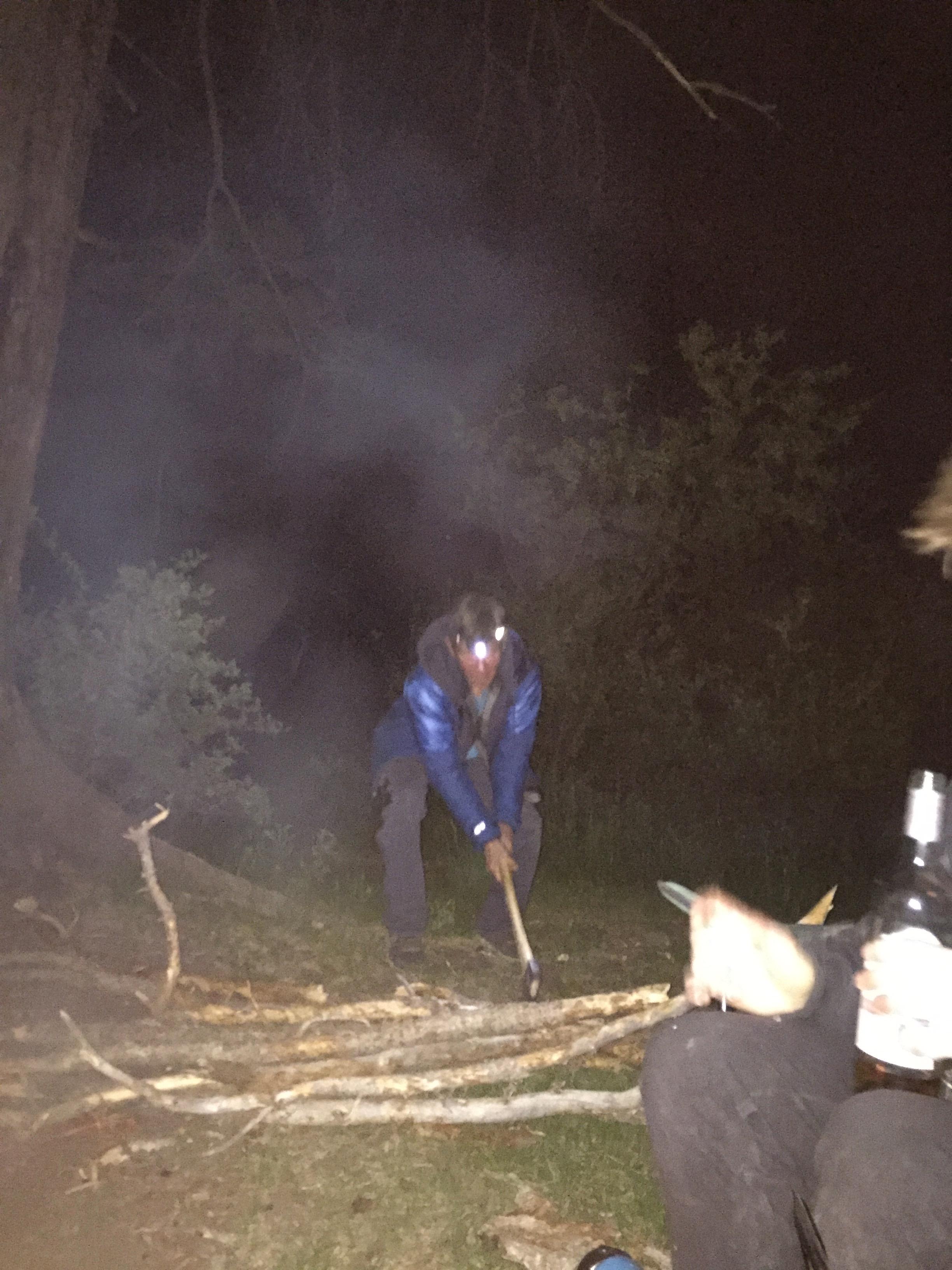 A legend Steve Hong making some firewood for the kiddos