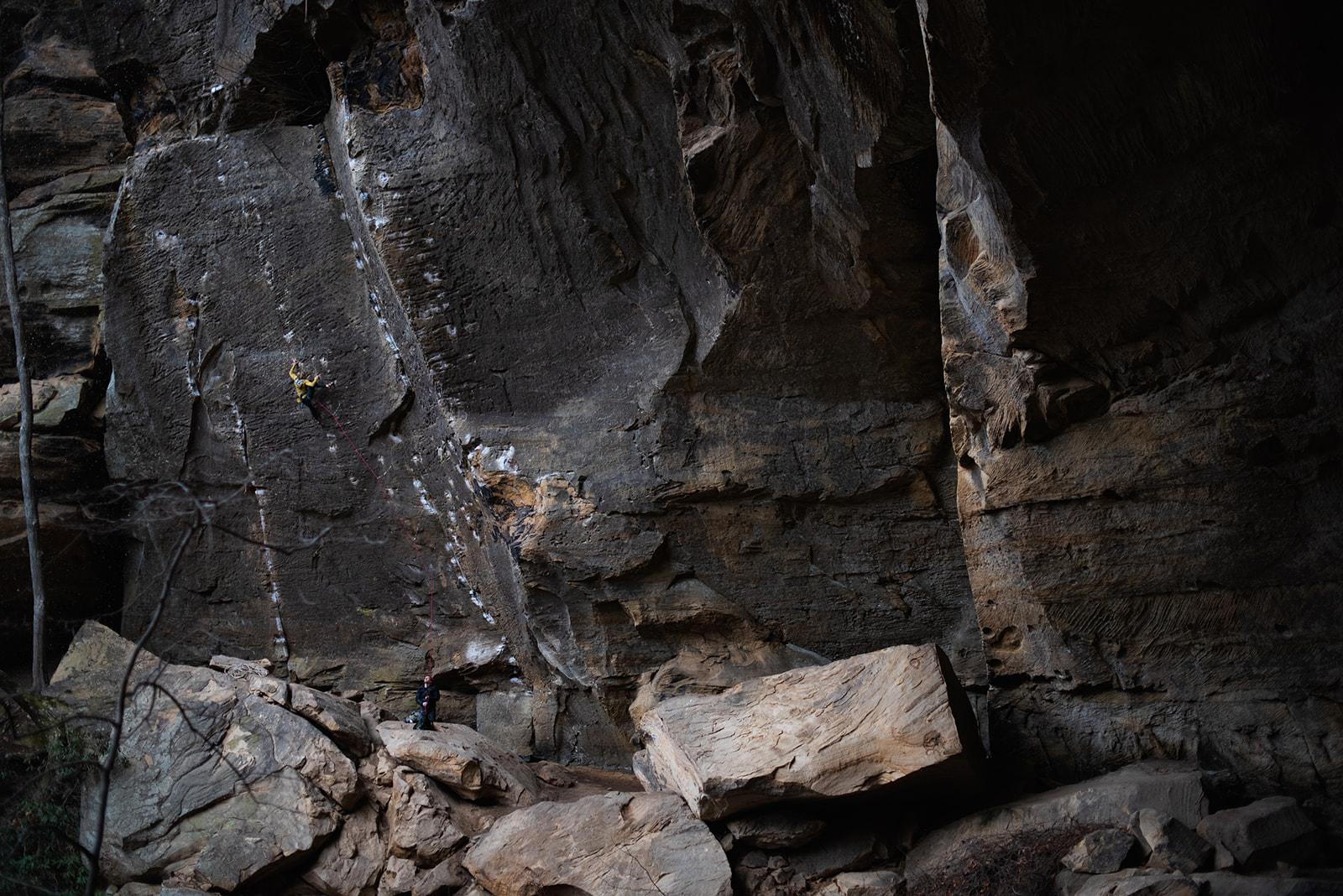 Climbing on Lucifer 5.14c in Kentucky