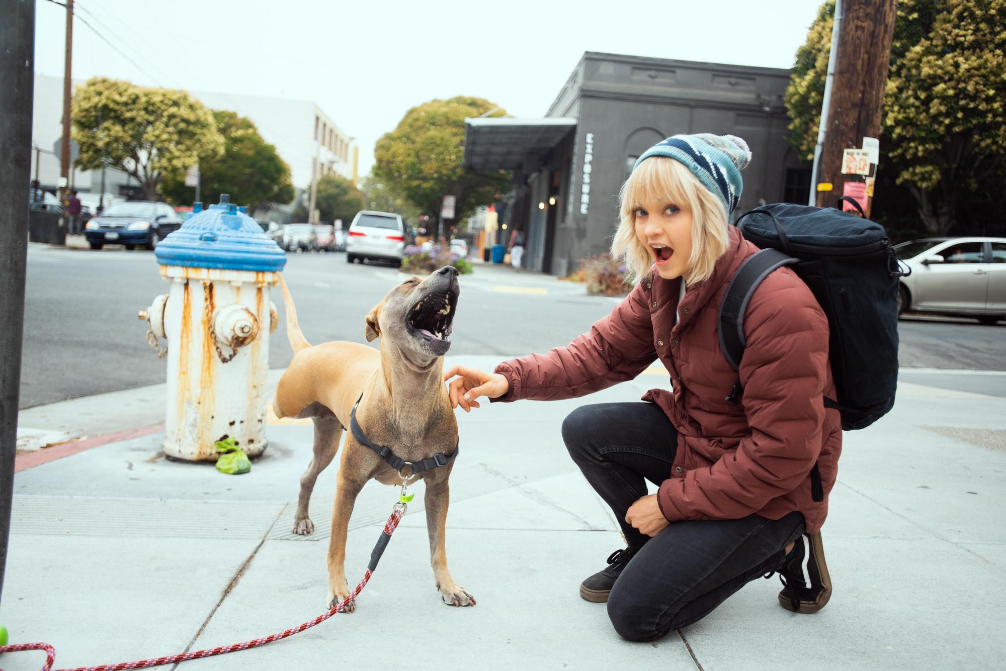 Yawning with one legged doggy :)