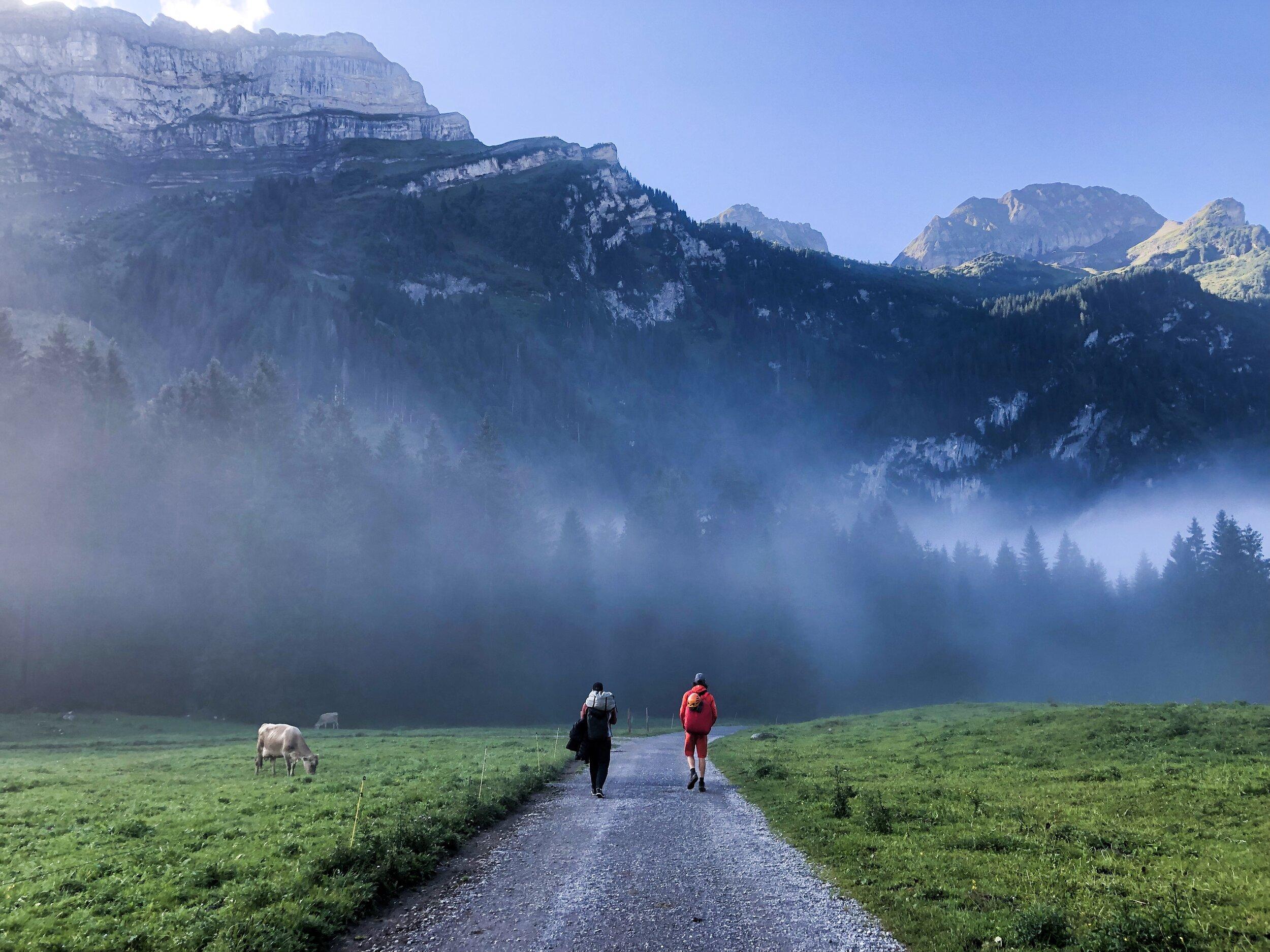 Sampsa and Lukas approaching in Voralpsee, Switzerland (2019)