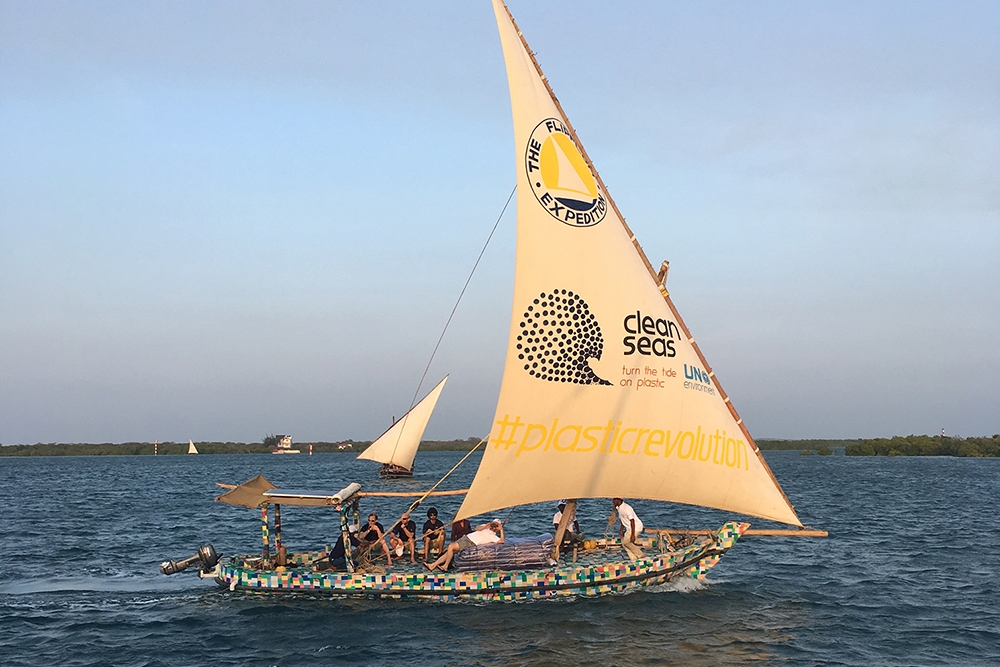The Flipflopi dhow - The Flipflopi is the world's first sailing boat made entirely from waste plastic and flip-flops collected from beaches and towns on the Kenyan coast.