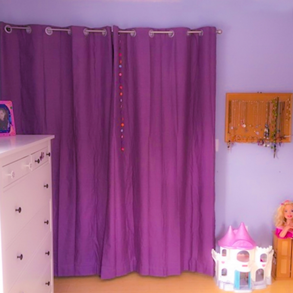 Consultation: - After straightening the alignment of her daughter's curtain rod, and hanging regal, royal, calming, purple curtains, my client's daughter is