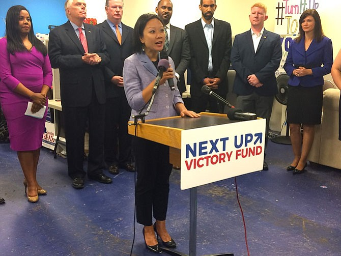 Photo by Michael Lee Pope  Kathy Tran speaks at a press conference in her campaign headquarters announcing support from People for the American Way.