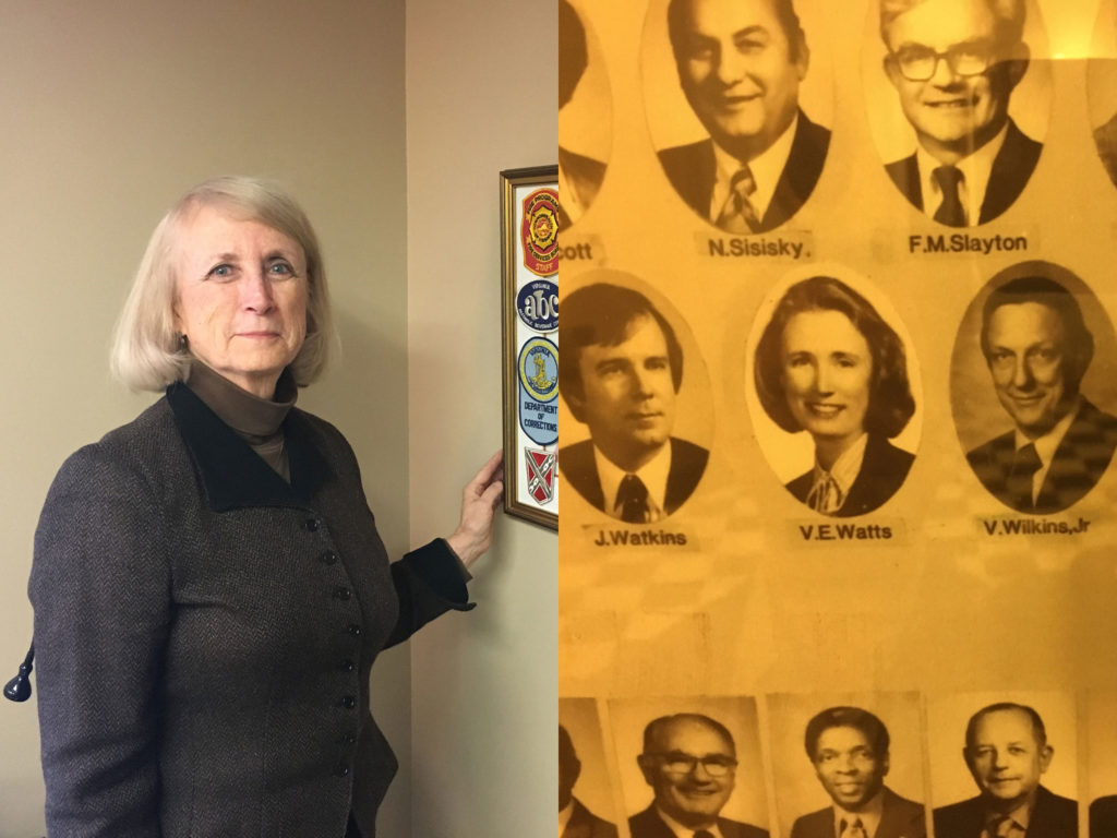 Vivian Watts, and her photo in the 1982 House of Delegates Yearbook.Patrick Madden / WAMU