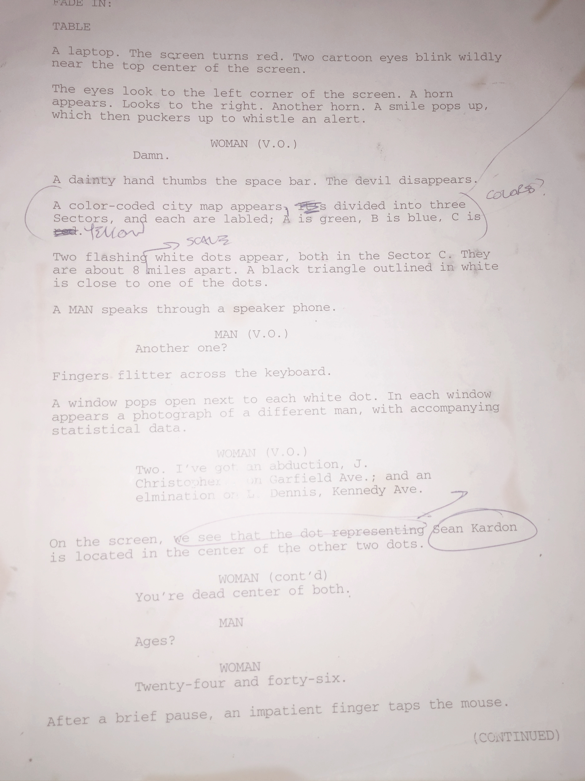 """Page 1 of the screenplay for """"Shifters,"""" written (and printed out) in the late 90s."""