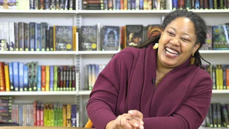 "Screenshot from an interview I did with N.K. Jemisin, here laughing at my ""Last Dragon"" joke 😎🤓"