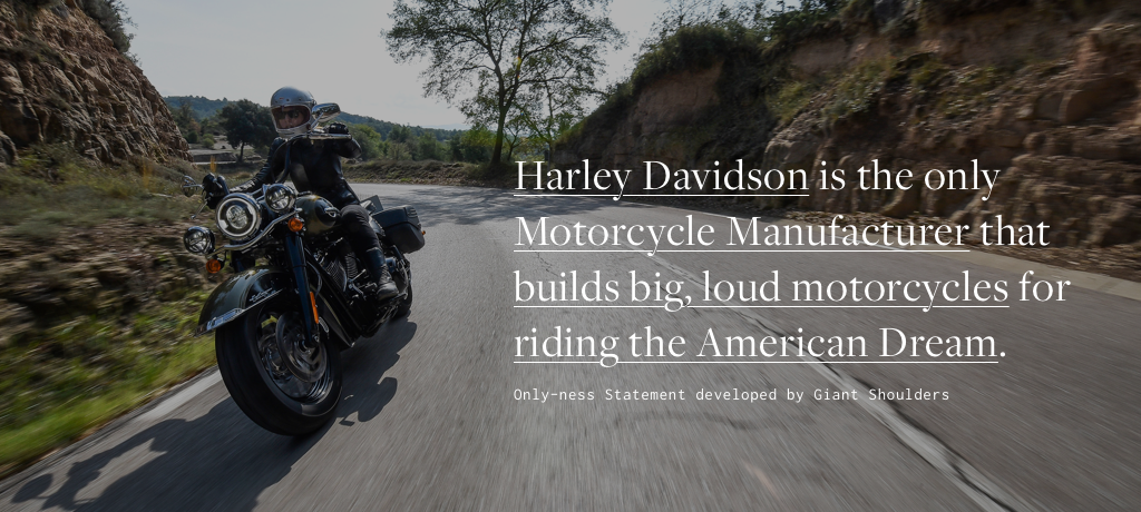 HARLY DAVIDSON   is the only   Motorcycle Manufacturer   that   builds big, loud motorcycles   for   you to ride the American Dream .