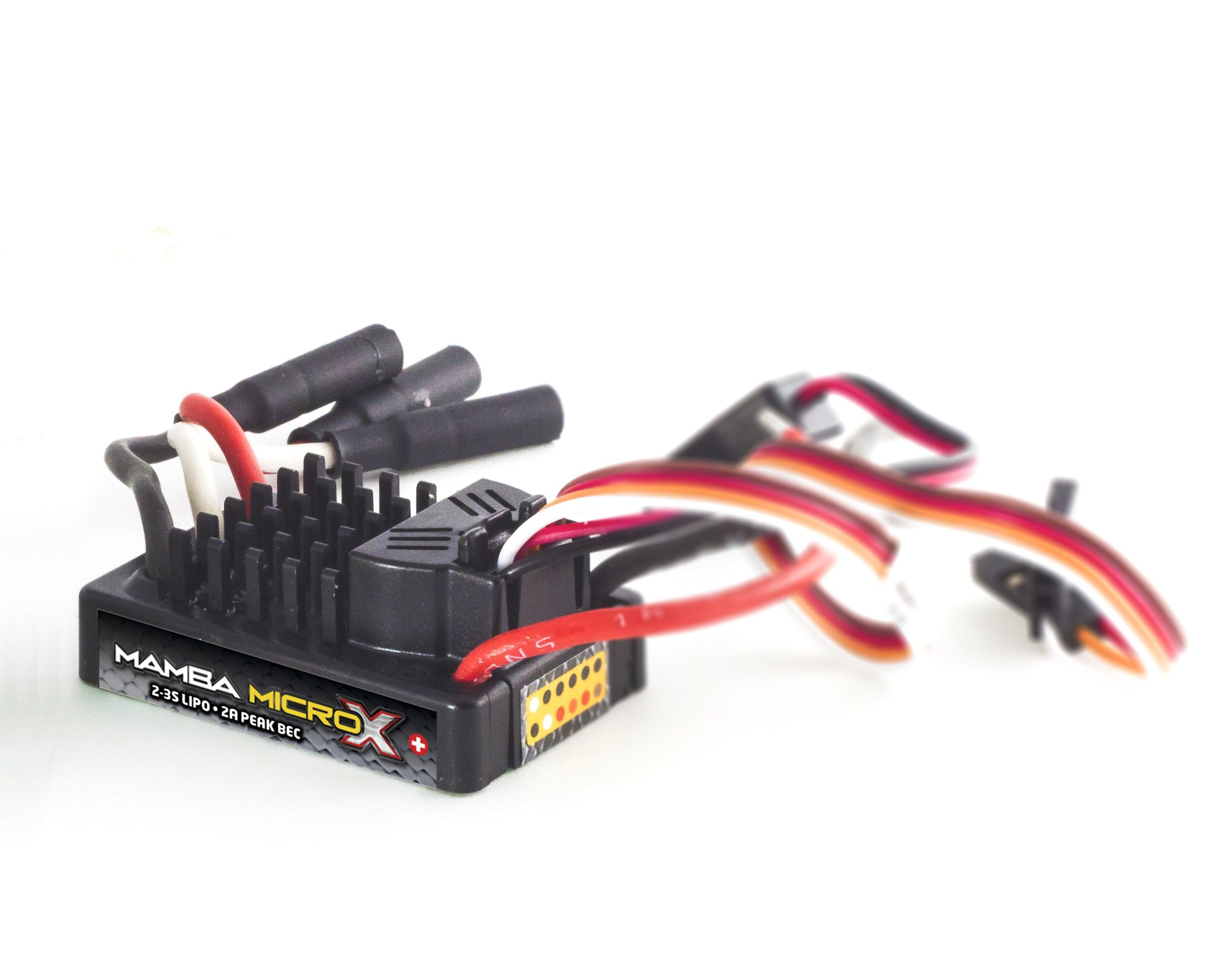Mamba Micro X - Sensored - Mamba Micro X is our latest 1:18 scale controller capable of 2S - 3S LiPo, with an 2 amp peak BEC - and, it's waterproof*, so you can run your vehicle through morning dew, across soggy snow, or a muddy trail. This is the perfect upgrade for 2WD or 4WD vehicles over 1.5 lbs and up to 2.25 lbs. The Mamba Micro X also works well in some 1/10th scale crawlers. Paired with a 2200kv Holmes Hobbies Puller Pro Stubby 2200kv it makes a great crawler ESC!