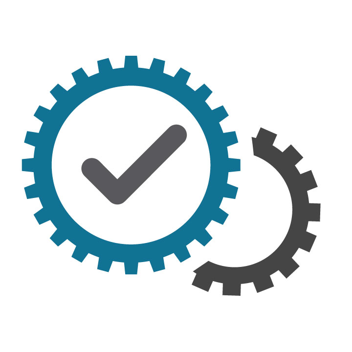 Cog wheels and check mark icon in blue and grey.