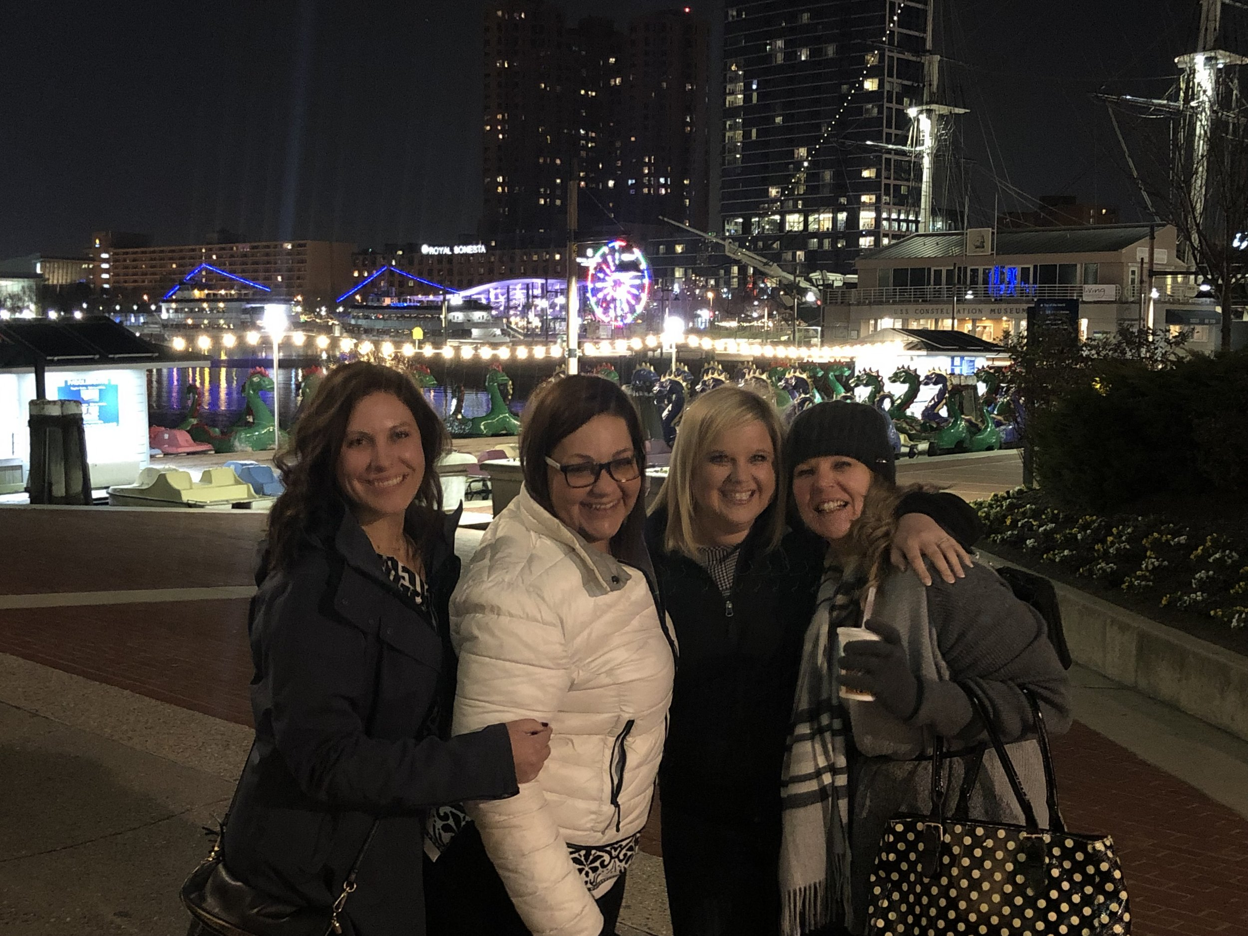Martha, DeAnna, Vanessa, and Tracey enjoy the night in Baltimore at the WICF conference.