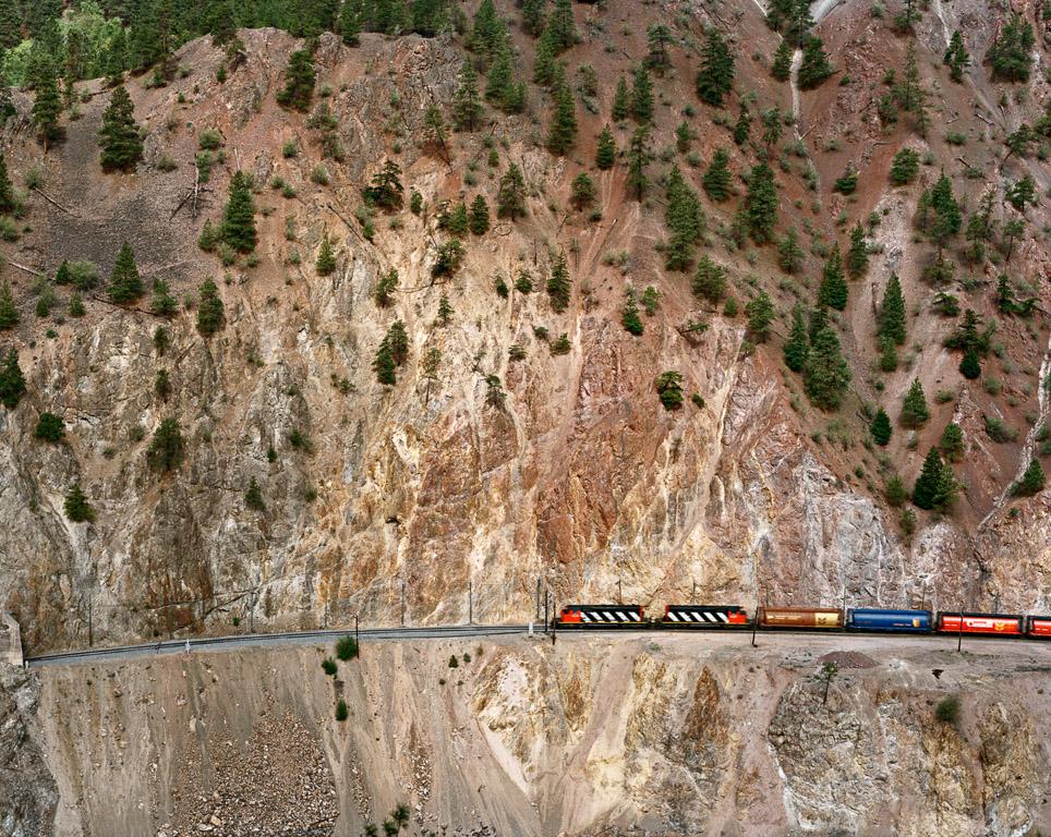 Railcuts #8  (Red hill, C.N. train) C.N. Track, Thompson River, British Columbia, 1985