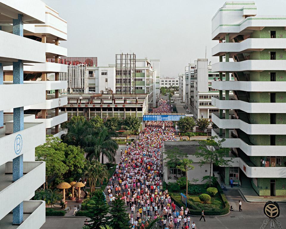 Manufacturing #2  Shift Change, Yuyuan Shoe Factory, Gaobu Town, Guangdong Province, China, 2004