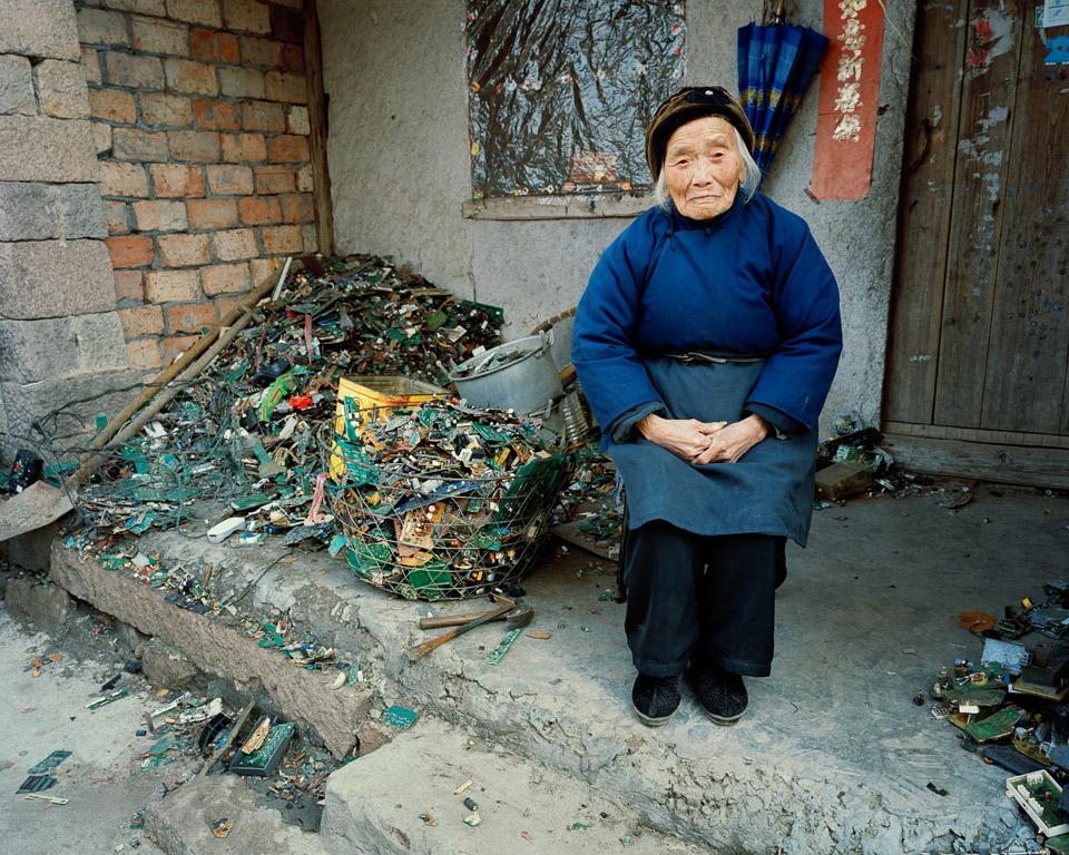 China Recycling #22  Portrait of A Woman In Blue, Zeguo, Zhejiang Province, China, 2004