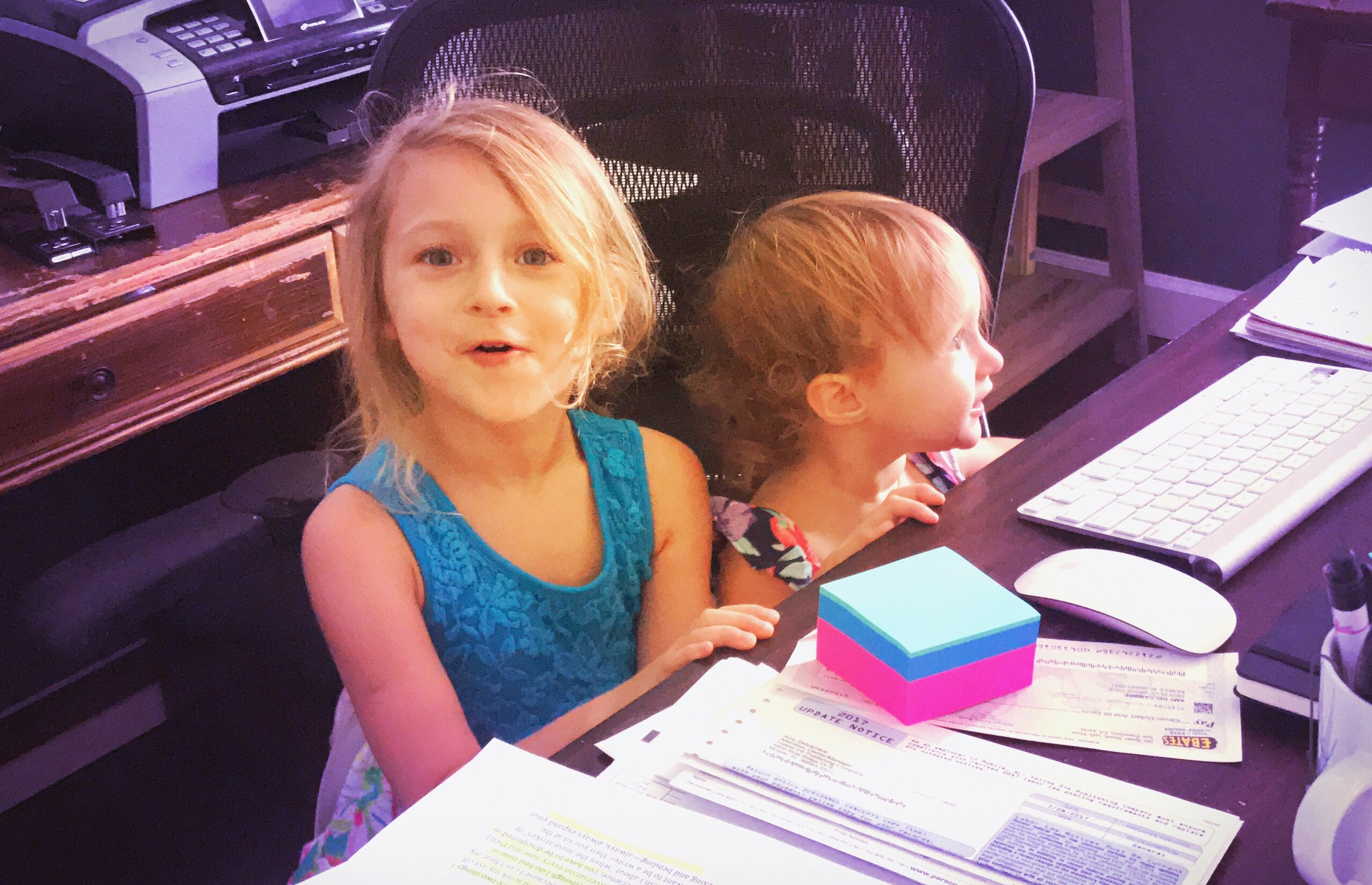 """Actual photo of my beautiful, wonderful children """"helping"""" in my office."""