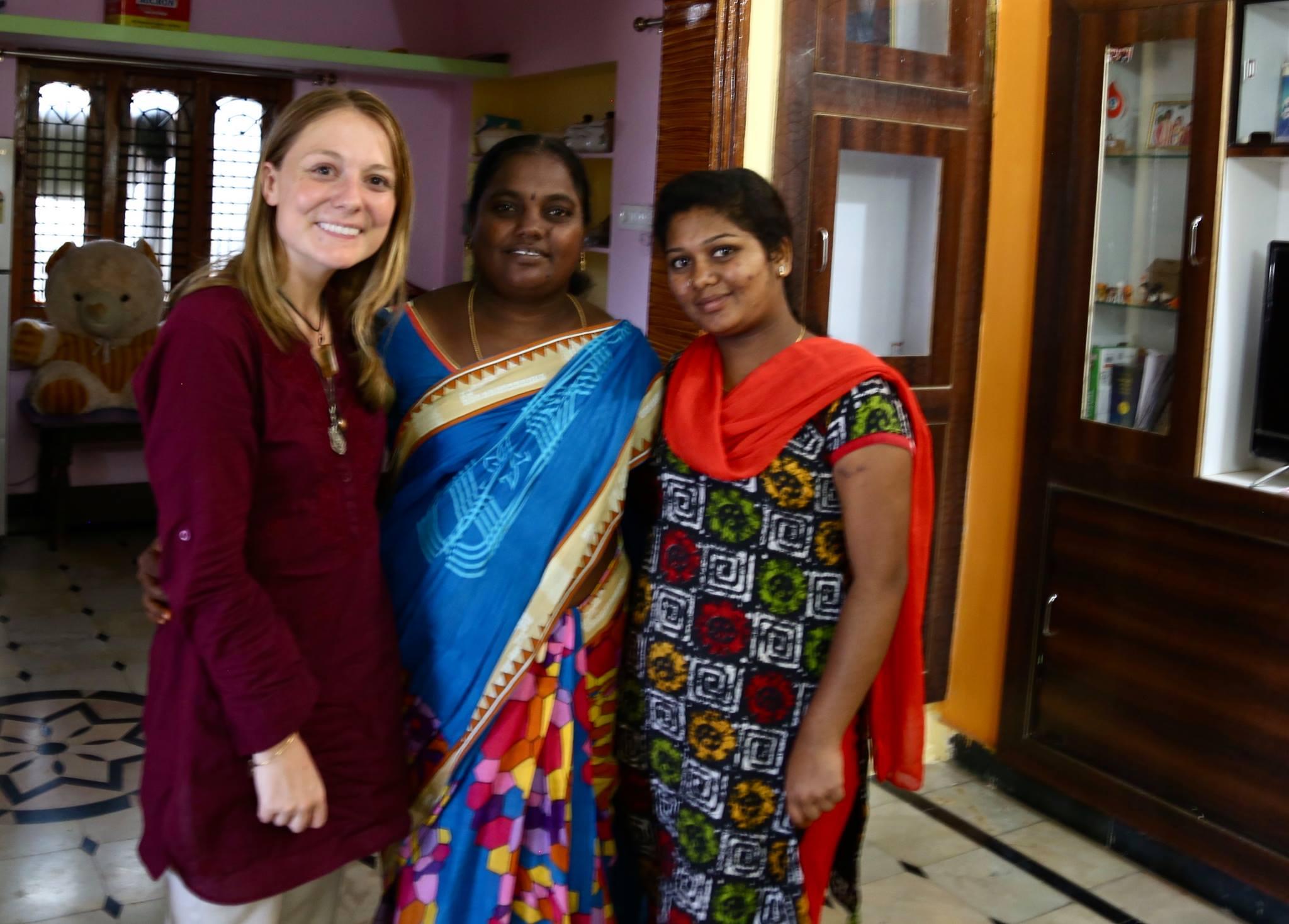 Village Sarpanch Katikela Shyamala, her daughter and I.