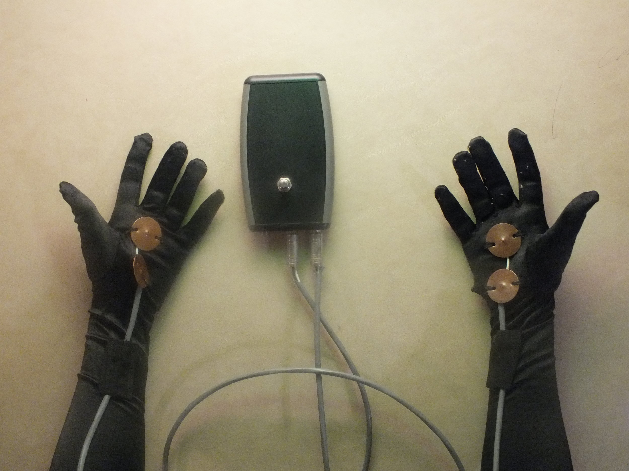 The  gloves  are inspired by multiple types of torture devices that focus on the hands on the victims such as the thumbscrews in which pressure was applied to the thumbs with a piece of wire, or gantlets in which iron cuffs placed around the wrist are tightened with a screw. This REI is made up of a pair of gloves outfitted with copper discs connected to a bent amplifier circuit that produces an electronic scream when touched to bare skin and with one another. With this instrument, the SD2 is able to experiment with the sound of her own body, the skin of the other dancers, and the audience members transgressing the performer/observer barrier