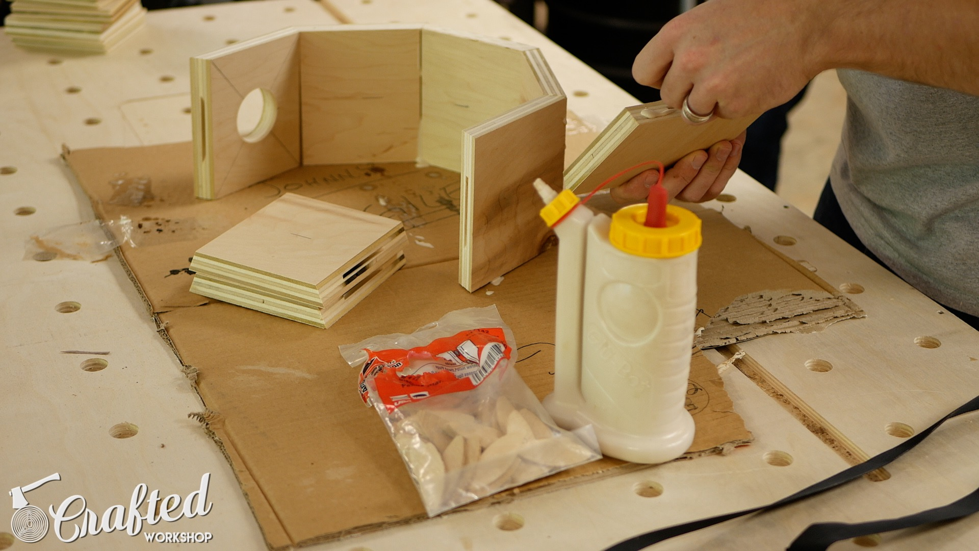 Wood Snare Drum cajon diy gluing snare rim biscuit joiner