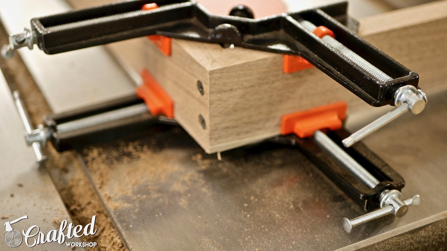 DIY Light Box Sign How-To Build countersink screws corner clamps