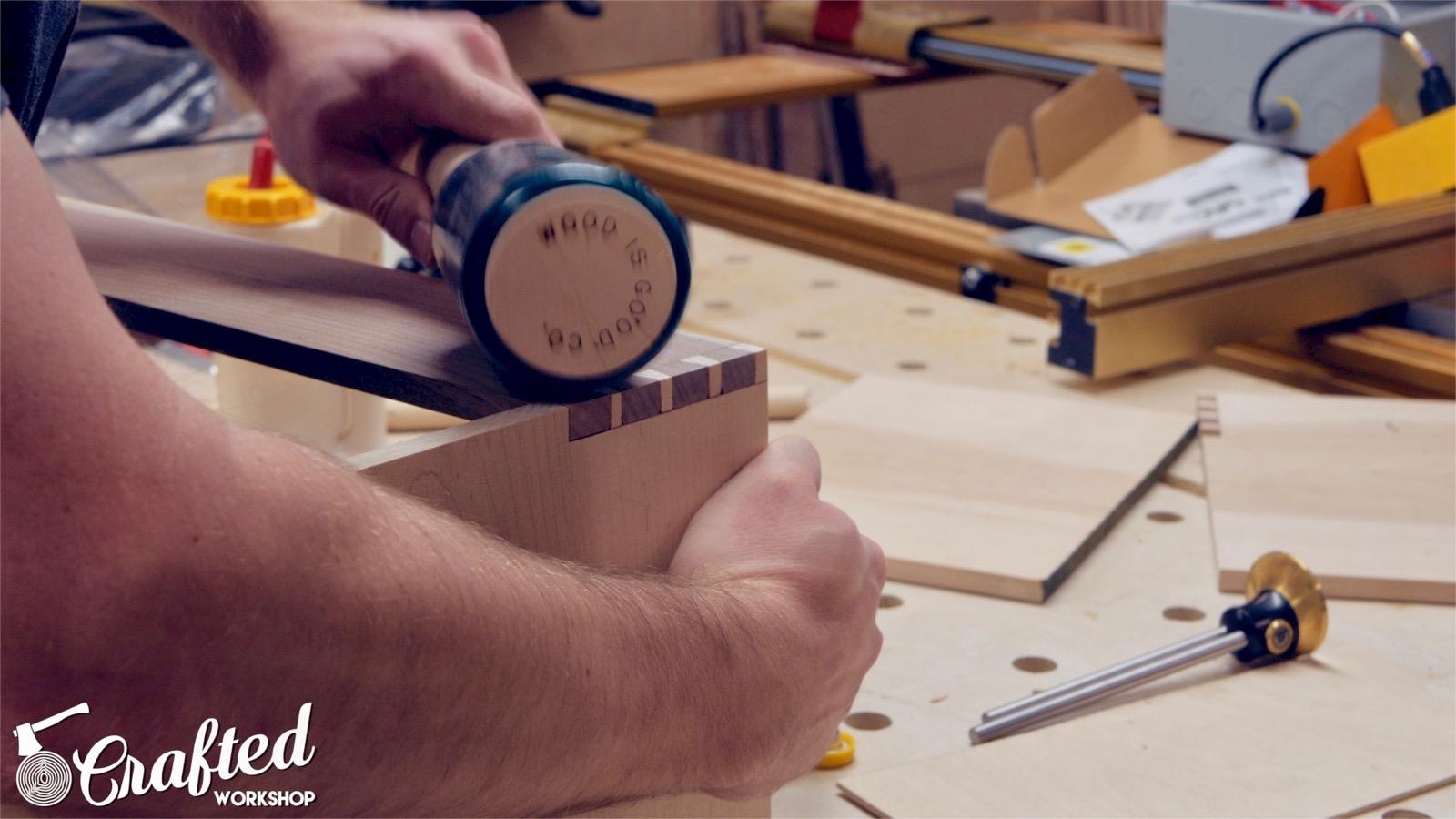 assembling hand cut dovetail joint