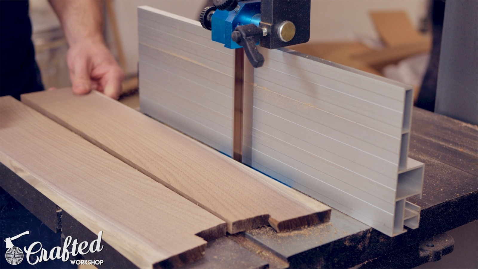 resawing walnut wood on a laguna 1412 bandsaw with resaw king blade woodworking