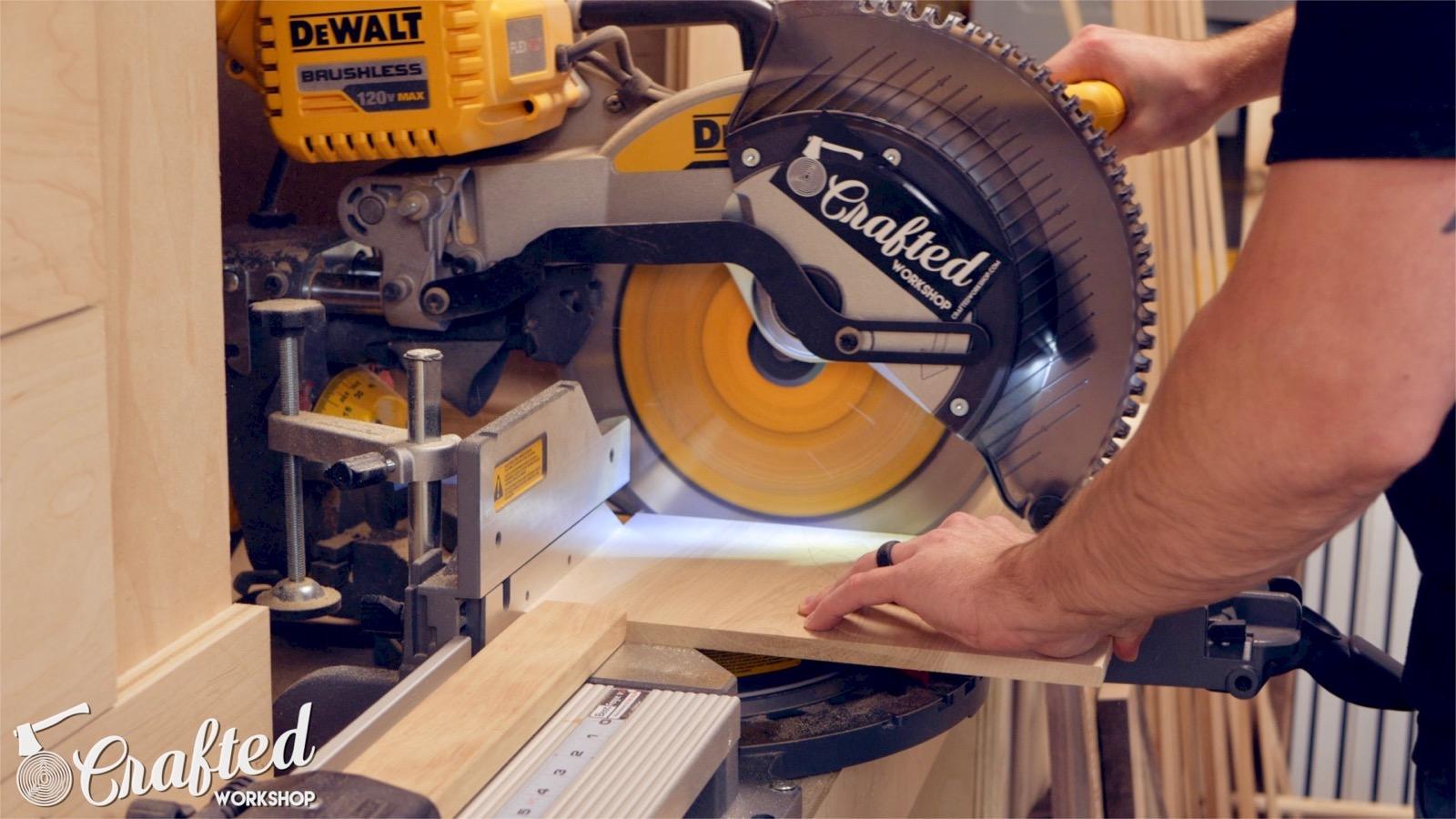 cutting maple on a dewalt flexvolt miter saw