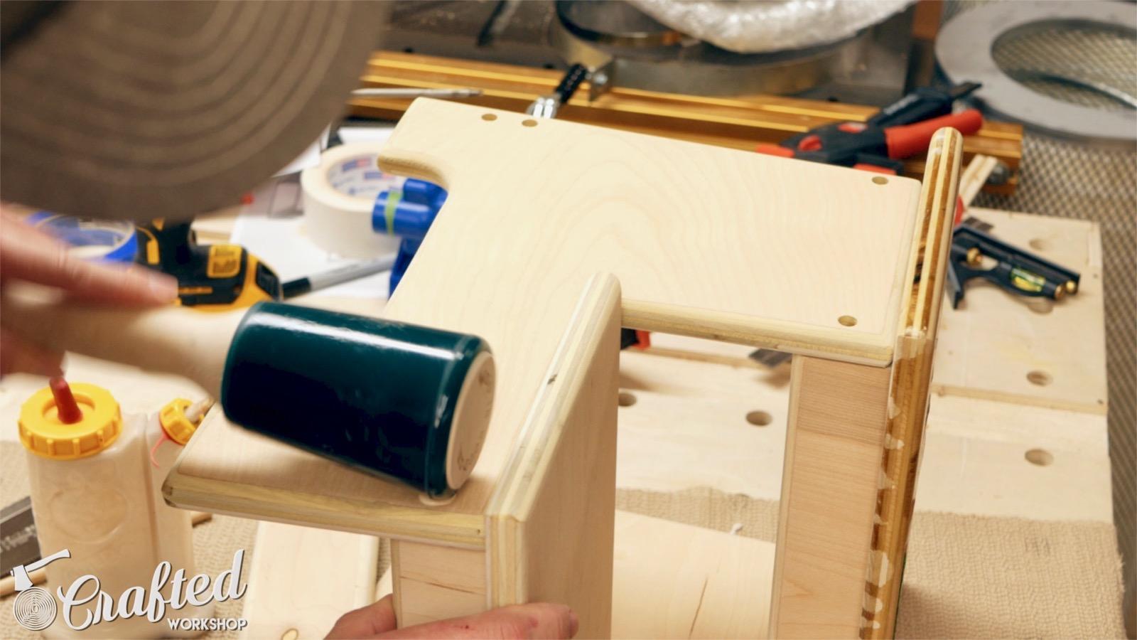 pounding in oak dowels using rubber mallet
