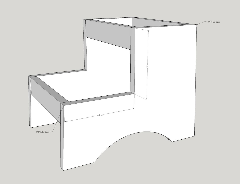 kids step stool cutout dimensions