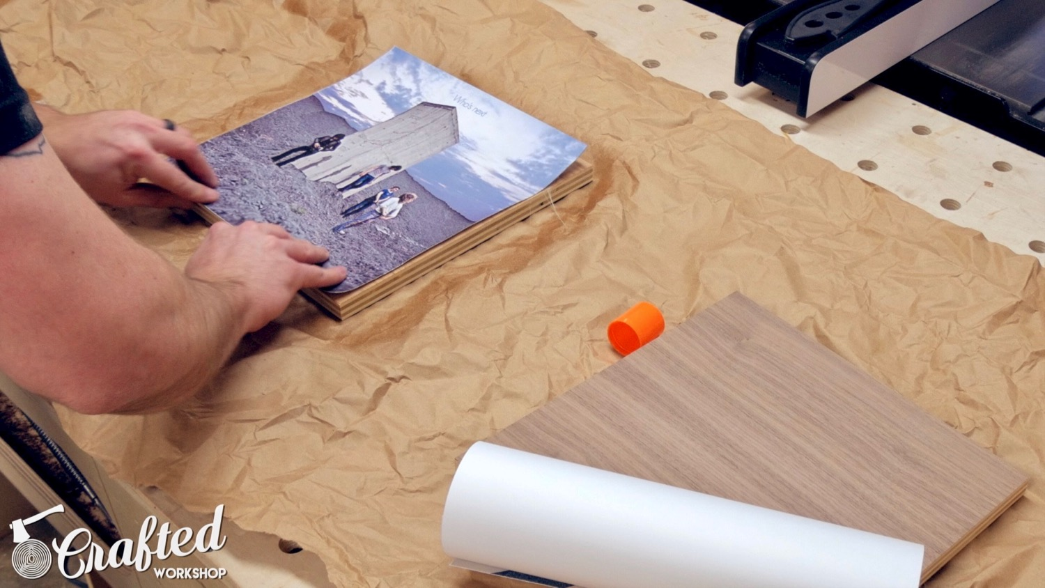 attaching album art to plywood with spray adhesive