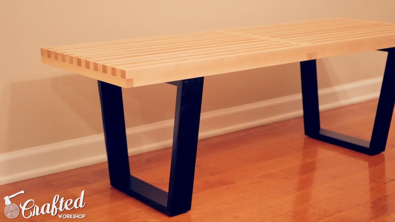 DIY Mid-Century Modern Slatted Bench Nelson Platform Bench Woodworking