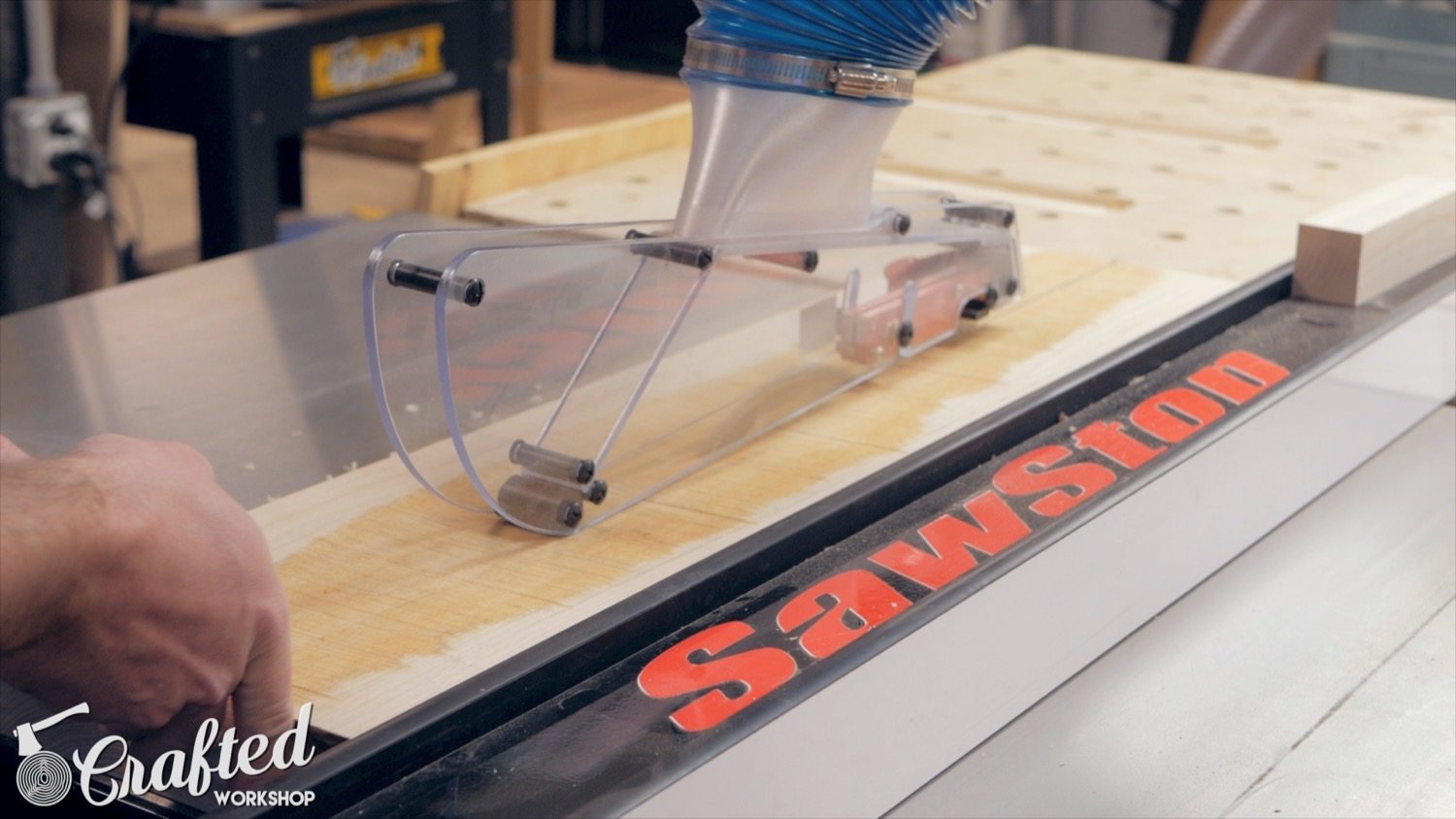shark guard table saw dust collection blade guard sawstop