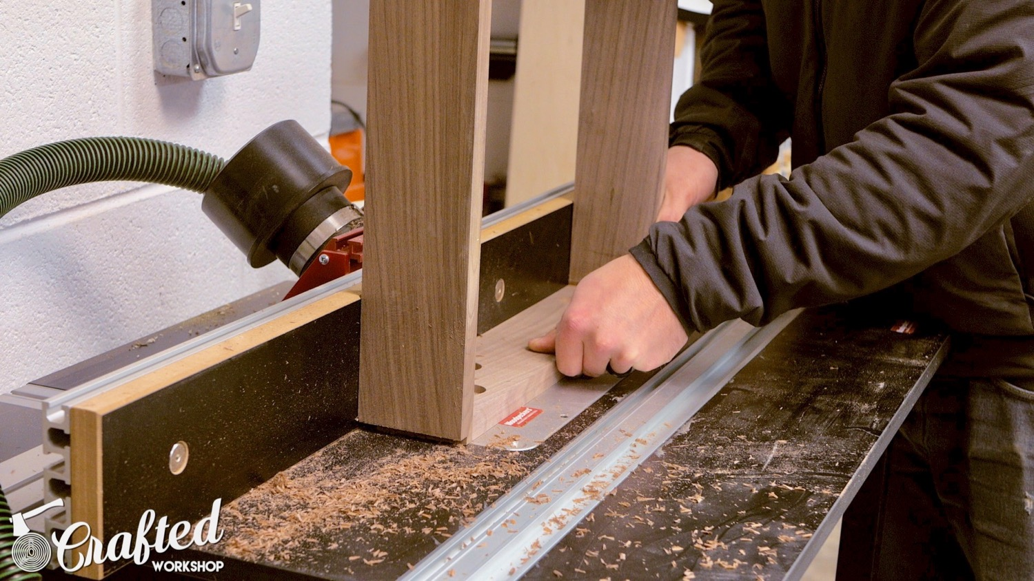 cutting away edge of table leg on router table
