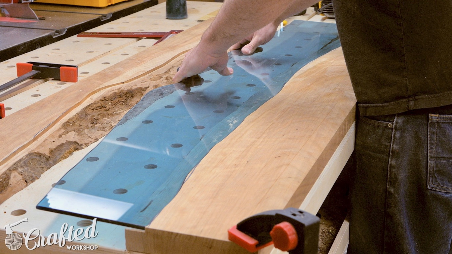 live edge river table fitting the glass pane