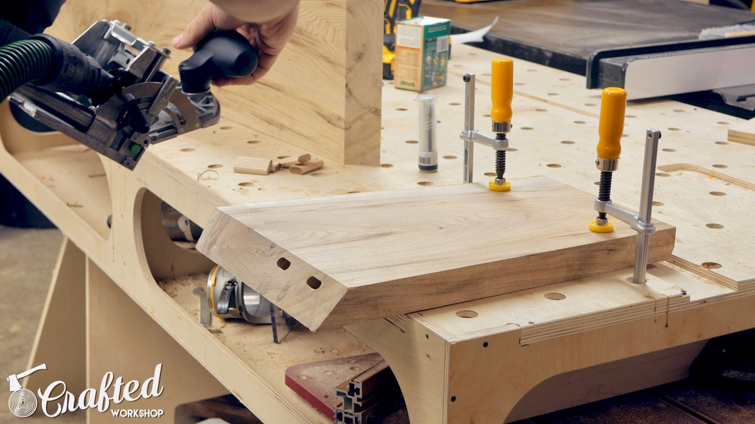 cutting domino mortises using the domino xl for waterfall table