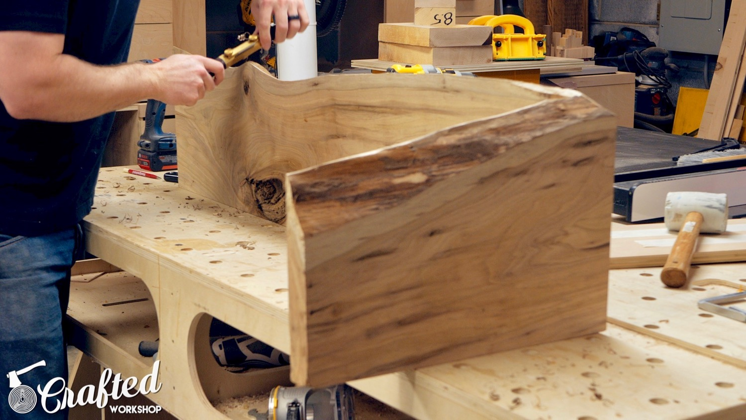 shaping live edge slab table with hnt gordon spokeshave