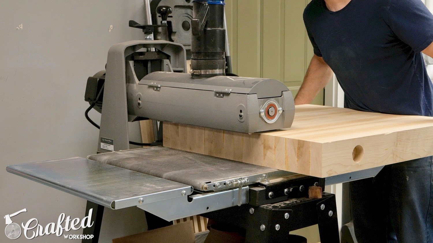 using supermax 19-38 drum sander on hard maple