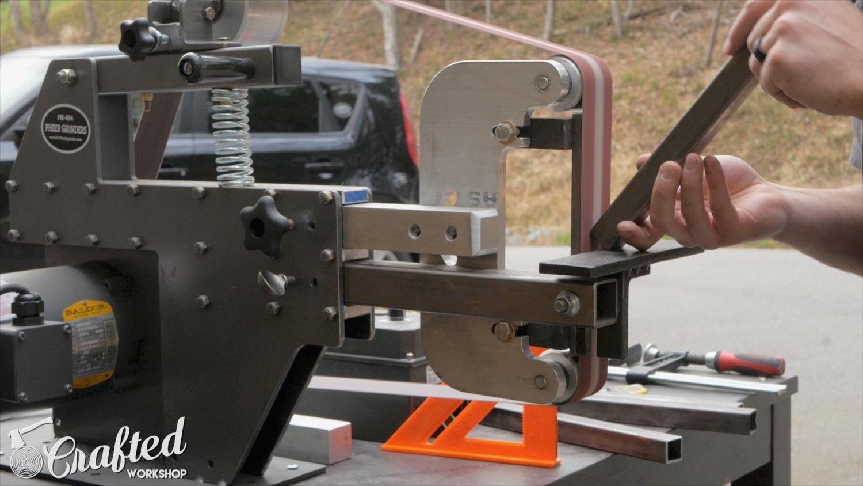 bevel edge steel on pheer belt grinder