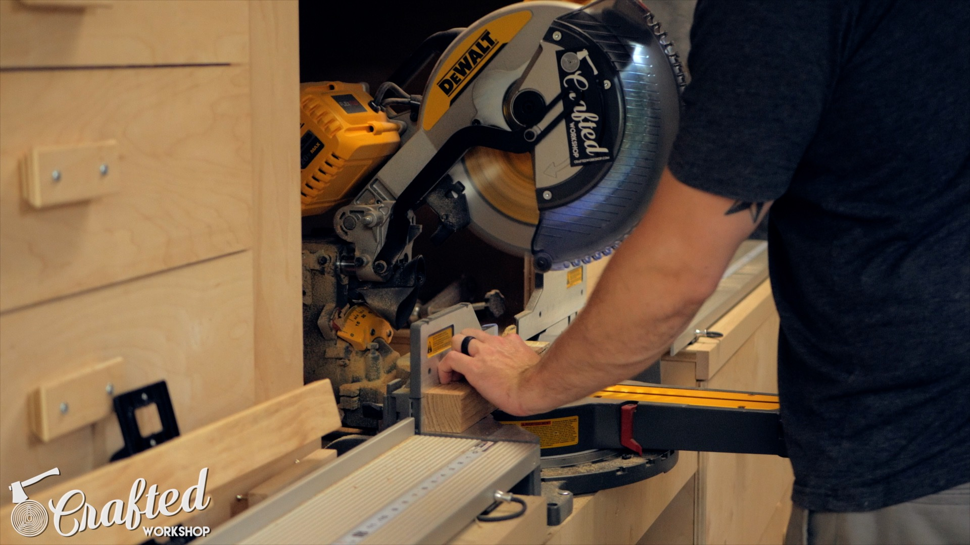 cutting scrap hardwood on the miter saw