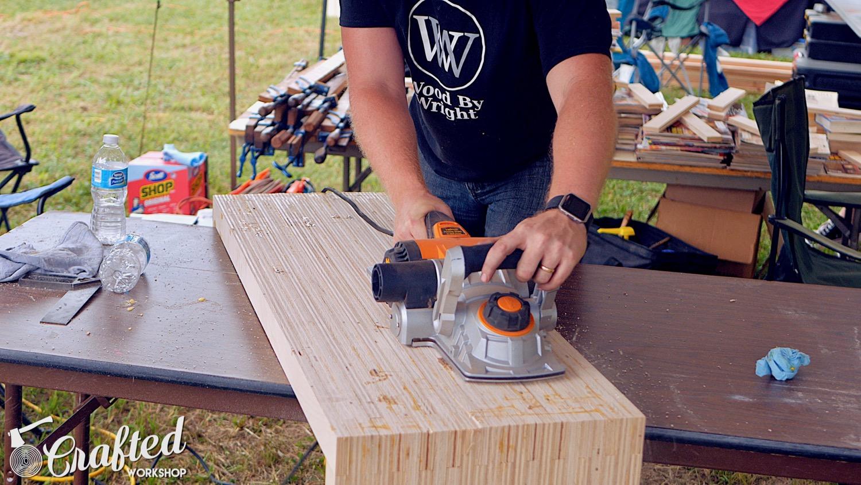 flattening diy plywood coffee table with triton triple blade planer