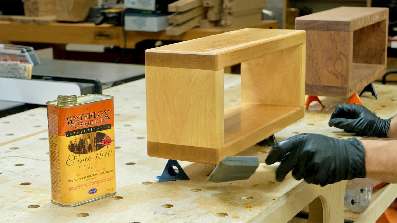 Applying Waterlox to Soft Maple floating shelf.
