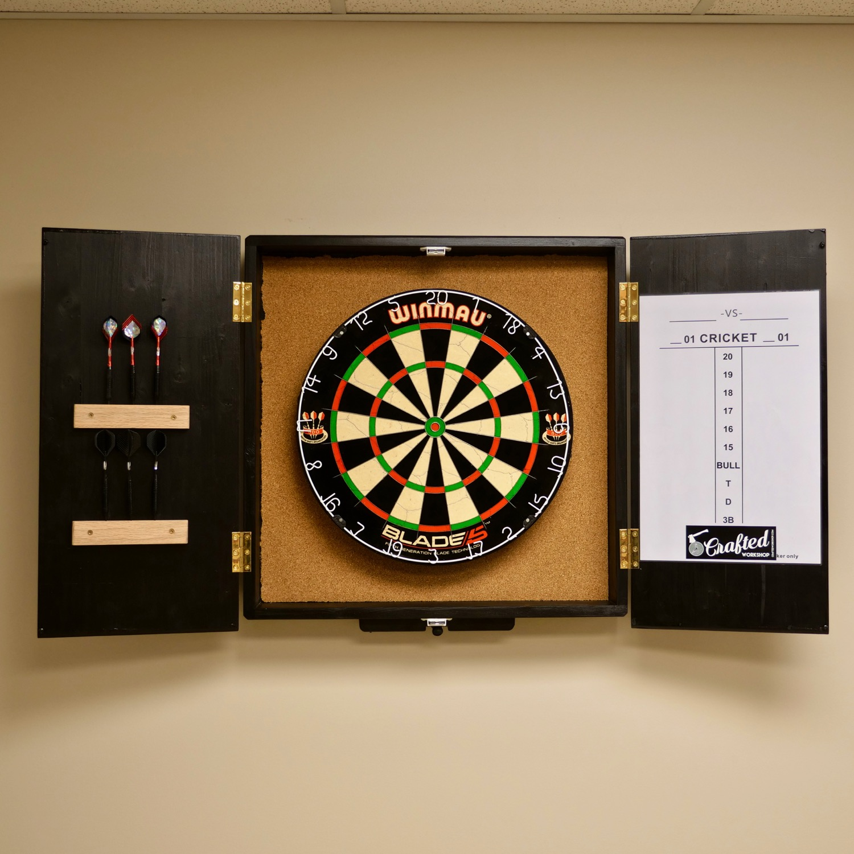 dartboard cabinet diy crafted workshop