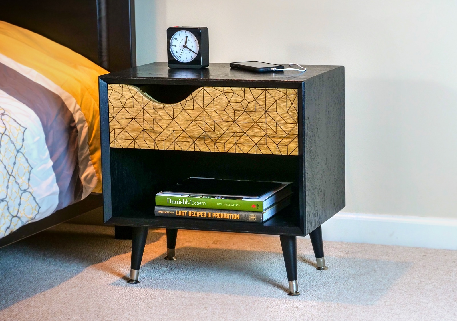 How To Build A Diy Mid Century Modern Bedside Table Nightstand With Ebonized Oak Crafted Workshop