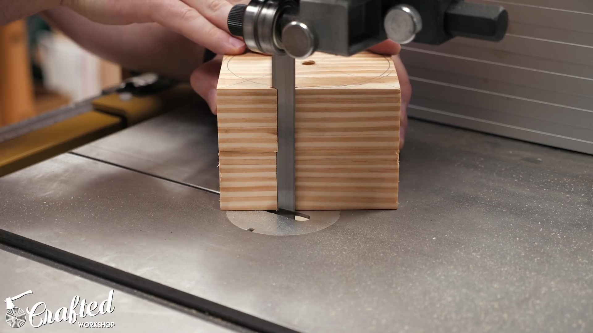 cutting the waste block round at the band saw