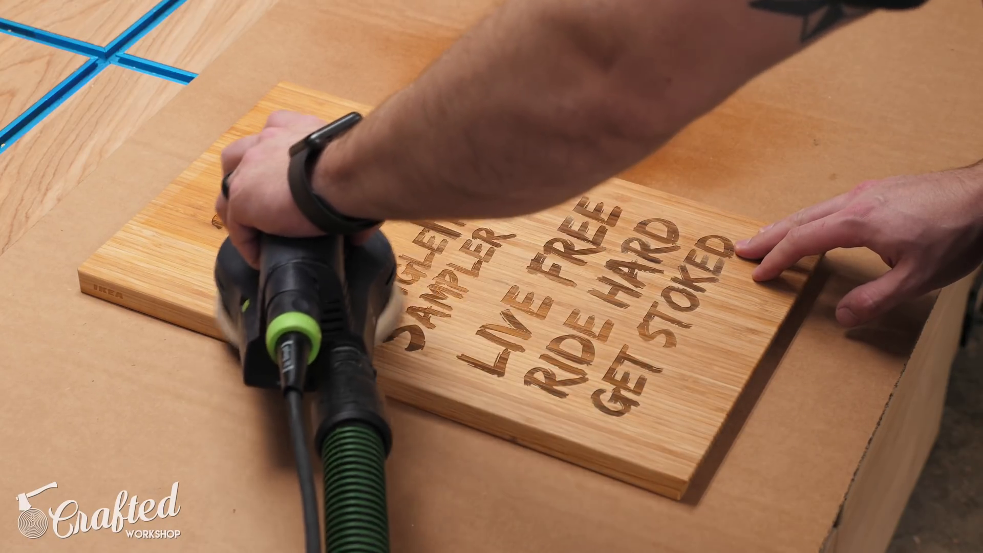 Sanding the Laser Cut Sign