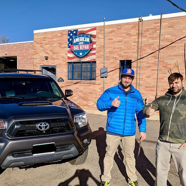 Fresh car, happy customer! Don't you want to be this happy? Give us a call or check us out at aahail.com  #hail #denver #5280 #smallbusiness #happy #customer #toyota #tacoma